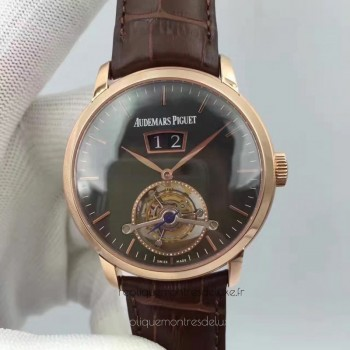 Réplique Montre Audemars Piguet Jules Audemars Tourbillon Grande Date 26559 Or rose Noir Dial