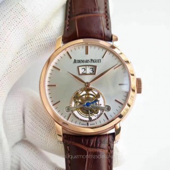 Réplique Montre Audemars Piguet Jules Audemars Tourbillon Grande Date 26559 Or rose argent Dial