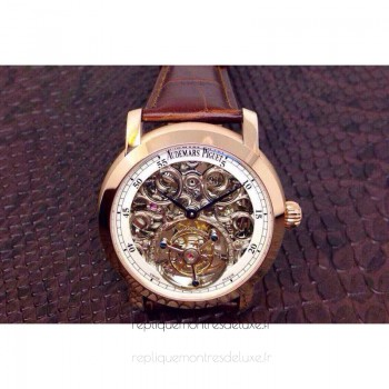 Réplique Montre Audemars Piguet Jules Audemars Tourbillon Or rose Skeleton Blanc Dial