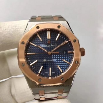 Réplique Montre Audemars Piguet Royal Oak 15400 Acier inoxydable Or rose Bleu Dial