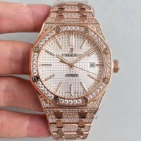 Réplique Montre Audemars Piguet Royal Oak 15400 Or rose diamant argent Dial