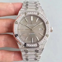 Réplique Montre Audemars Piguet Royal Oak 15400 Acier inoxydable diamant Gris Dial