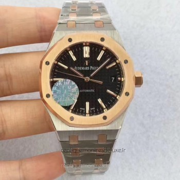 Réplique Montre Audemars Piguet Royal Oak 15450 Acier inoxydable Or rose Noir Dial