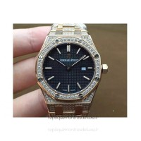 Réplique Montre Audemars Piguet Royal Oak 67651 Ladies Or rose Diamant Noir Dial