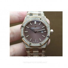 Réplique Montre Audemars Piguet Royal Oak 67651 Ladies Or rose Diamant marron Dial