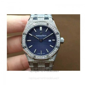 Réplique Montre Audemars Piguet Royal Oak 67651 Ladies Acier inoxydable Diamant Bleu Dial