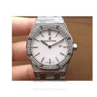 Réplique Montre Audemars Piguet Royal Oak 67651 Ladies Acier inoxydable Diamant Blanc Dial