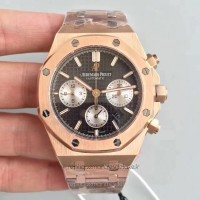 Réplique Montre Audemars Piguet Royal Oak Chronographe 26320 Or rose Noir Dial