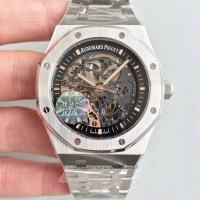 Réplique Montre Audemars Piguet Royal Oak Double Balance Wheel Openworked 15407 Acier inoxydable Noir Skeleton Dial