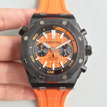 Réplique Montre Audemars Piguet Royal Oak Offshore Plongeur Chronographe 26703 Ceramic Orange Dial