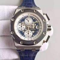 Réplique Montre Audemars Piguet Royal Oak Offshore Rubens Barrichello II 26078PO.OO.D018CR.01 Acier inoxydable Bleu Dial