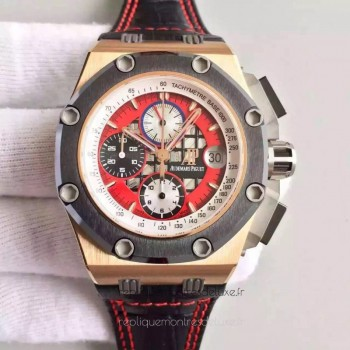 Réplique Montre Audemars Piguet Royal Oak Offshore Rubens Barrichello II 26284RO.OO.D002CR.01 Or rose Red Dial