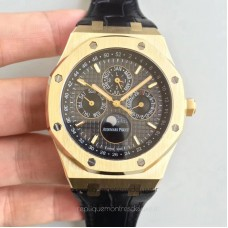 Réplique Montre Audemars Piguet Royal Oak Calendrier perpétuel 41MM 26574BA.OO.1220BA.01 Or jaune Noir Dial