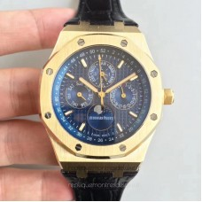 Réplique Montre Audemars Piguet Royal Oak Calendrier perpétuel 41MM 26574BA.OO.1220BA.01 Or jaune Bleu Dial