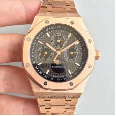 Réplique Montre Audemars Piguet Royal Oak Calendrier perpétuel 41MM 26574OR.OO.1220OR.01 Or rose Noir Dial