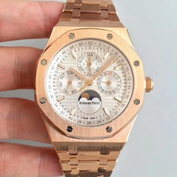 Réplique Montre Audemars Piguet Royal Oak Calendrier perpétuel 41MM 26574OR.OO.1220OR.01 Or rose argent Dial