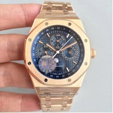 Réplique Montre Audemars Piguet Royal Oak Calendrier perpétuel 41MM 26574OR.OO.1220OR.01 Or rose Bleu Dial