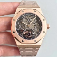 Réplique Montre Audemars Piguet Royal Oak Tourbillon Extra-Plate Squelette 26518 Or rose Noir Skeleton Dial