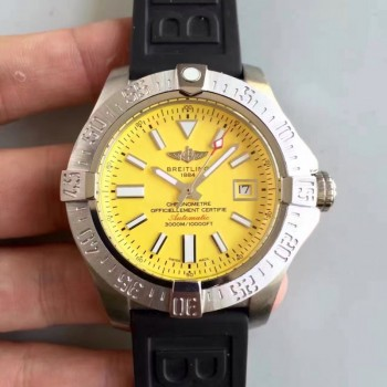 Breitling Avenger II Seawolf A1733110/BC30/152S/A20SS.1 Cadran jaune en acier inoxydable