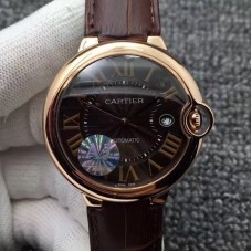 Replica Ballon Bleu De Cartier 42MM W6920037 Rose Gold Chocolate Dial