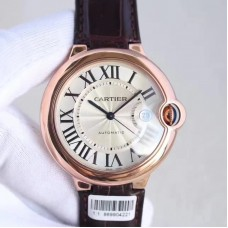 Replica Ballon Bleu De Cartier 42MM WGBB0017 Rose Gold Silver Dial
