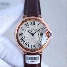 Ballon Bleu De Cartier Dames 36MM W6900456 Or rose Cadran argenté