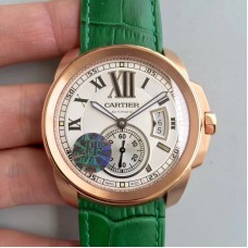Replica Calibre De Cartier W7100009 42MM Rose Gold White Dial