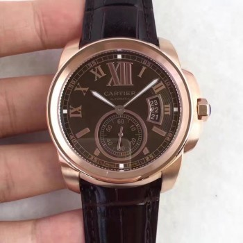 De Cartier W7100040 42MM Or rose Cadran Chocolat