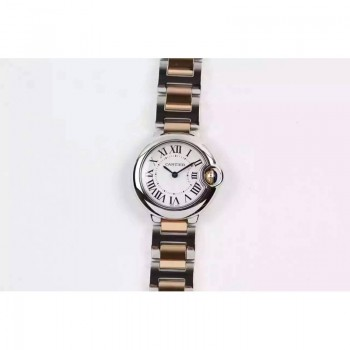 Cartier Ballon Bleu 28MM Dames Or rose & Acier inoxydable Cadran blanc Quartz