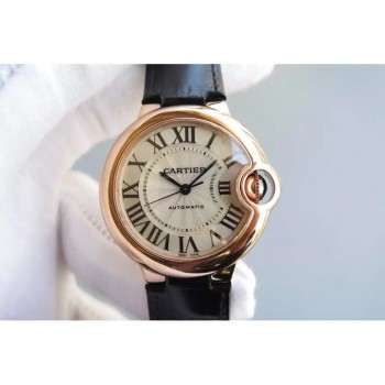 Cartier Ballon Bleu 33MM Or rose Cadran argenté