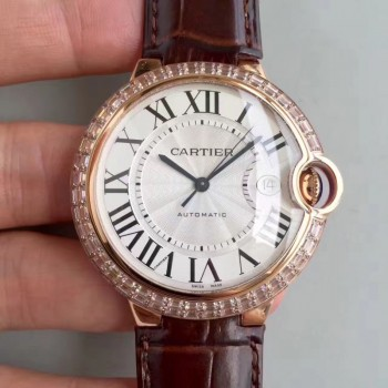 Cartier Ballon Bleu 42MM W6900651 Or rose & Diamants Cadran blanc