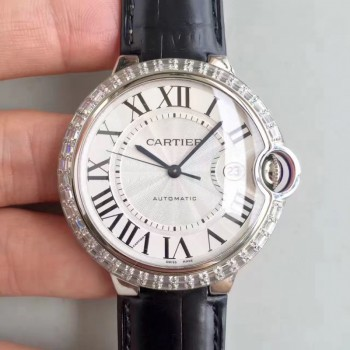 Cartier Ballon Bleu 42MM WE900951 Acier inoxydable & Diamants Cadran blanc