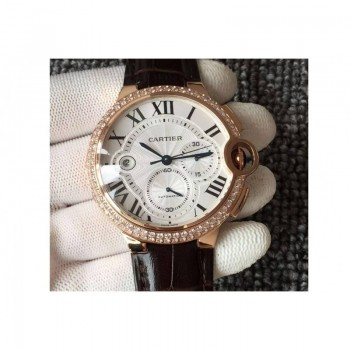 Cartier Ballon Bleu Chronograph Or rose & Diamants Cadran blanc