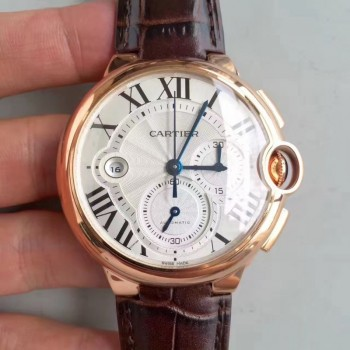 Cartier Ballon Bleu Chronograph W6920074 Or rose Cadran argenté