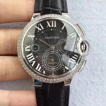 Cartier Ballon Bleu Chronograph WE902002 Acier inoxydable & Diamants Cadran noir