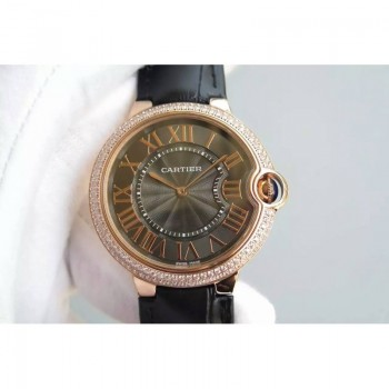 Cartier Ballon Bleu Or rose & Diamants Cadran brun