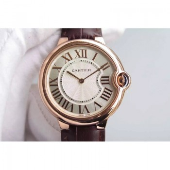 Cartier Ballon Bleu Or rose Gold Markers & Cadran blanc