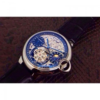 Cartier Ballon Bleu Tourbillon Moonphase Acier inoxydable Skeleton Tourbillon