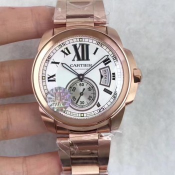 Calibre de Cartier W7100018 42MM Or rose Cadran blanc