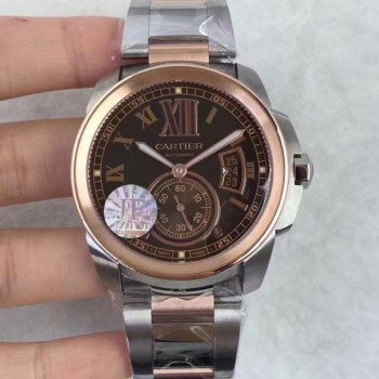 Calibre de Cartier W7100036 42MM Acier inoxydable & Or rose Cadran brun