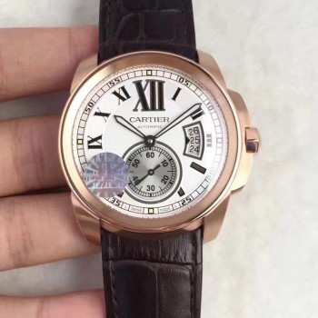 Calibre de Cartier W7100039 42MM Or rose Cadran blanc