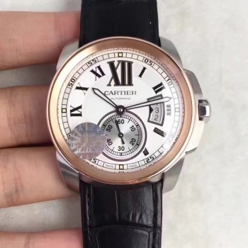 Calibre de Cartier W7100039 42MM Acier inoxydable & Or rose Cadran blanc
