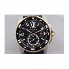 Replica Cartier Diver Stainless Steel & Rose Gold Black Dial