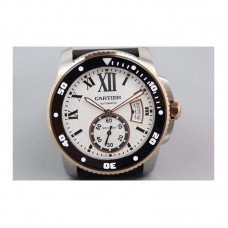 Replica Cartier Diver Stainless Steel & Rose Gold White Dial