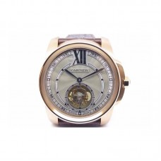 Replica Calibre de Cartier Tourbillon Rose Gold Gray Dial Tourbillon