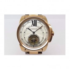 Replica Calibre de Cartier Tourbillon Rose Gold White Dial Tourbillon