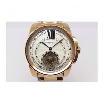 Calibre de Cartier Tourbillon Or rose Cadran blanc Tourbillon