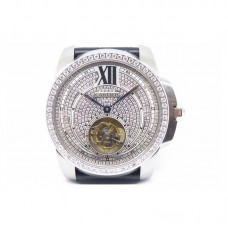 Replica Calibre de Cartier Tourbillon Stainless Steel & Diamonds White Dial Tourbillon