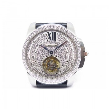 Calibre de Cartier Tourbillon Acier inoxydable & Diamants Cadran blanc Tourbillon