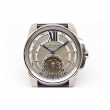 Replica Calibre de Cartier Tourbillon Stainless Steel Gray Dial Tourbillon